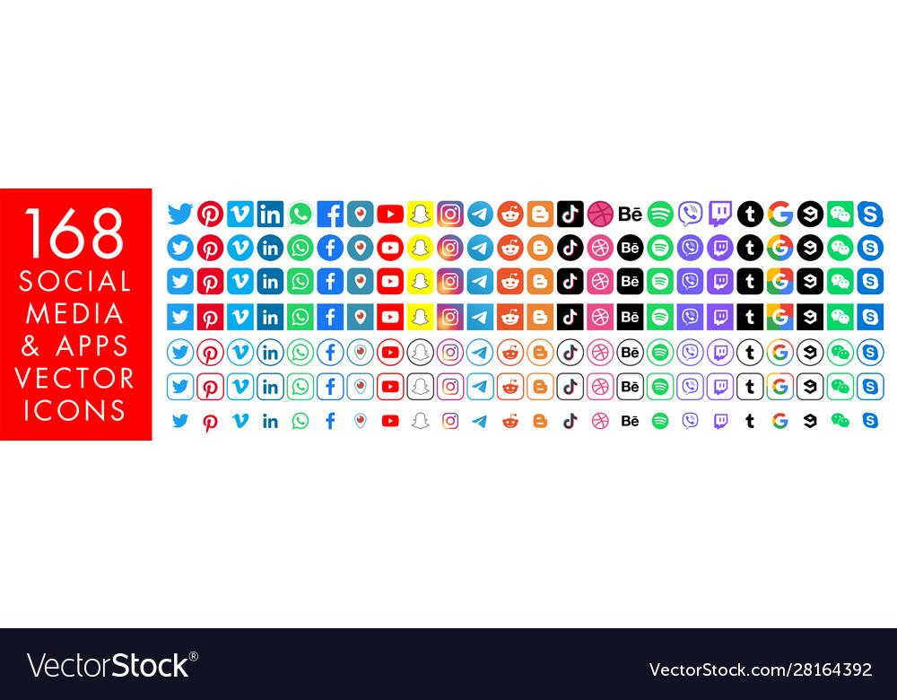168 color media icons facebook instagram twitter