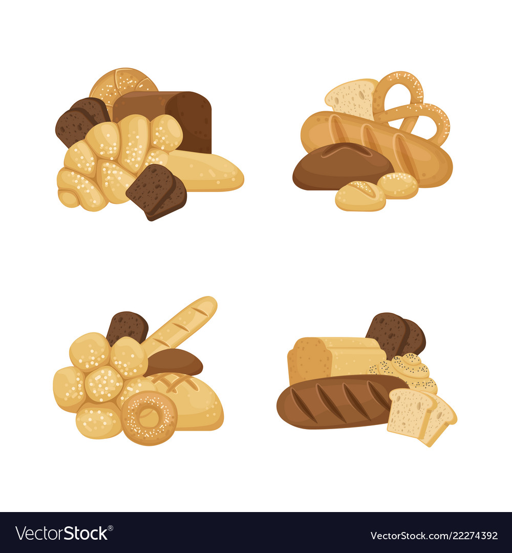 Cartoon bakery elements piles set isolated