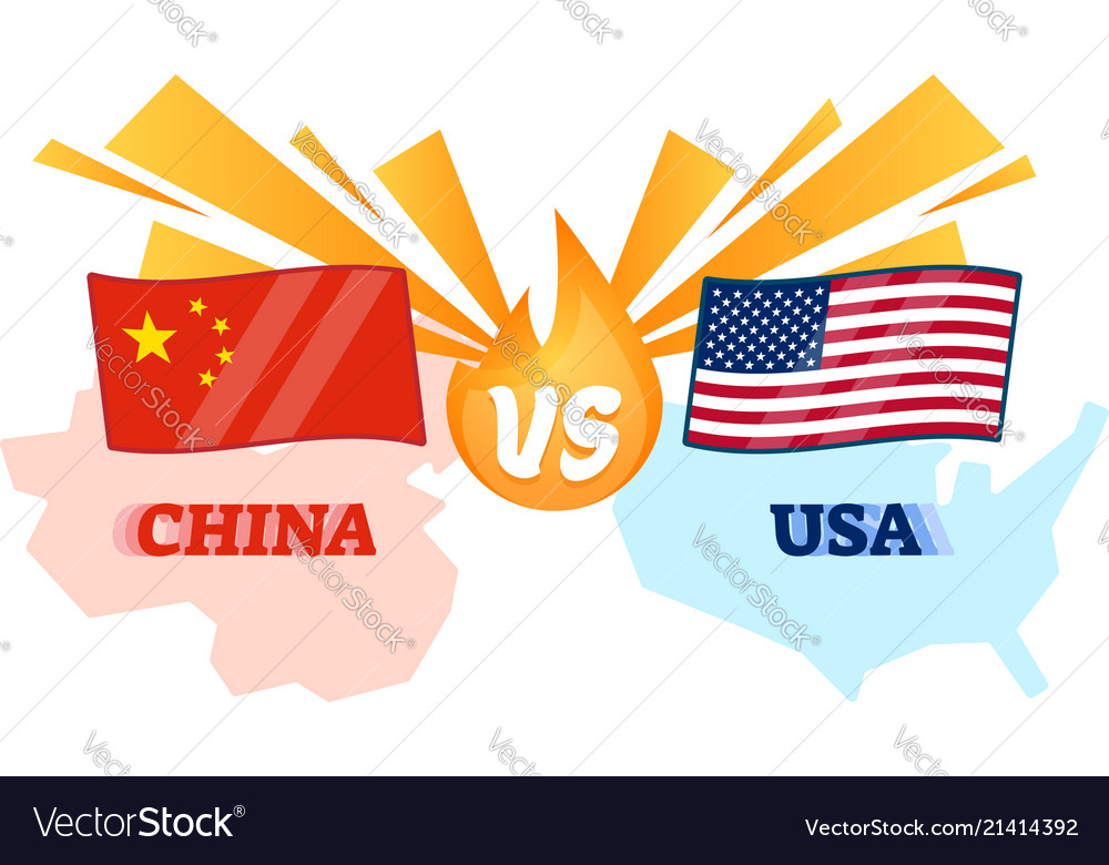 China Vs Usa Conflict Flag And Map Royalty Free Vector Image