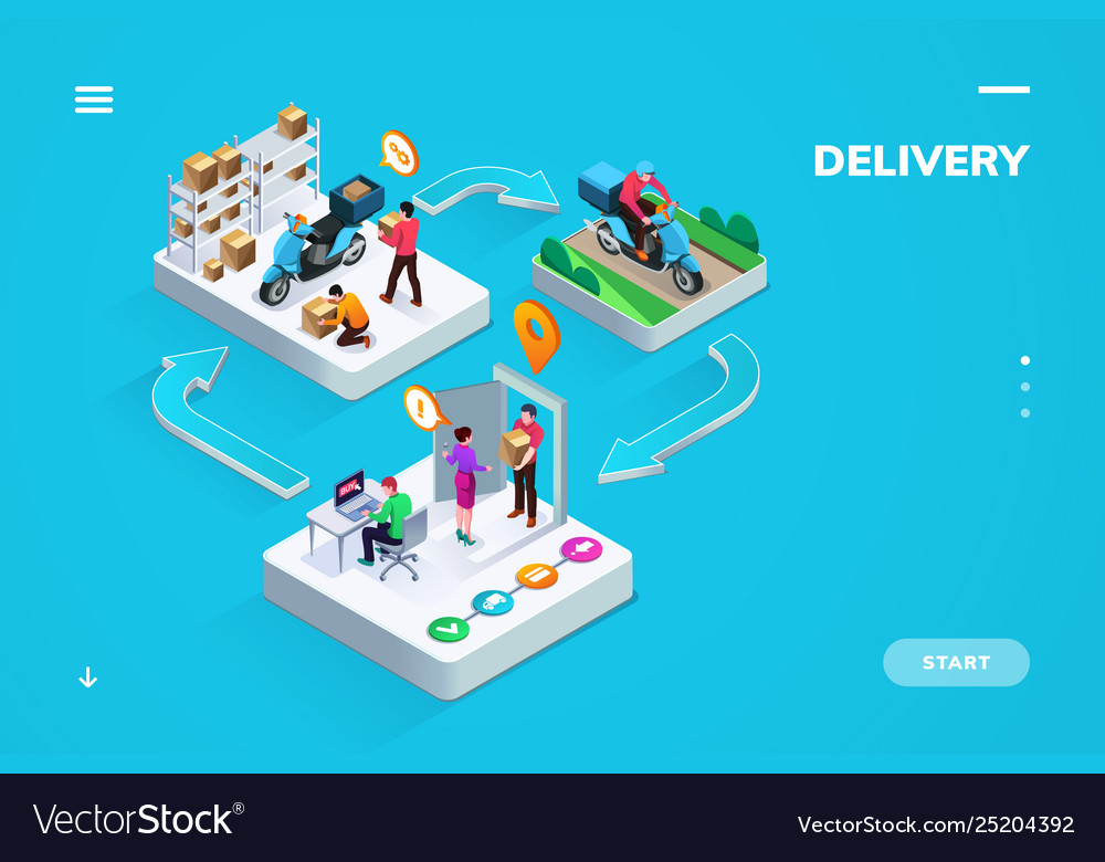 Delivery or logistic isometric banner or sign