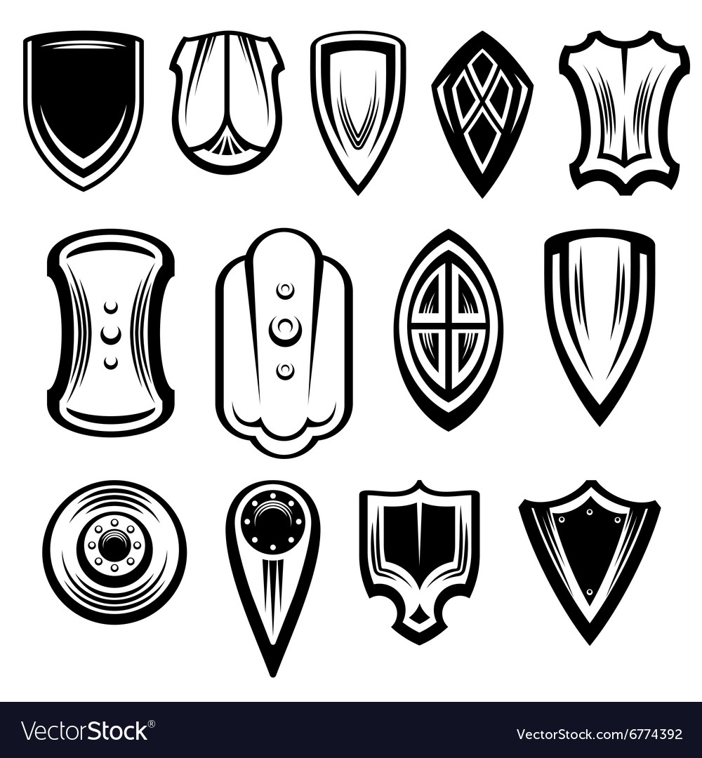 Fantasy Shields Collection vector image