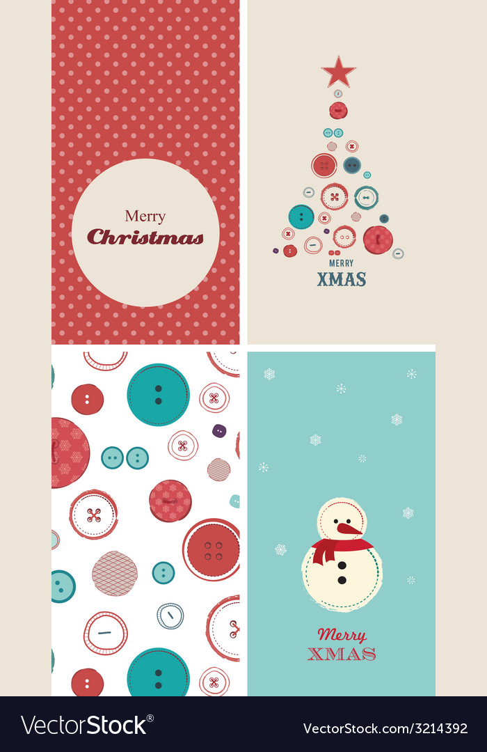 four christmas cards with creative christmas tree vector image