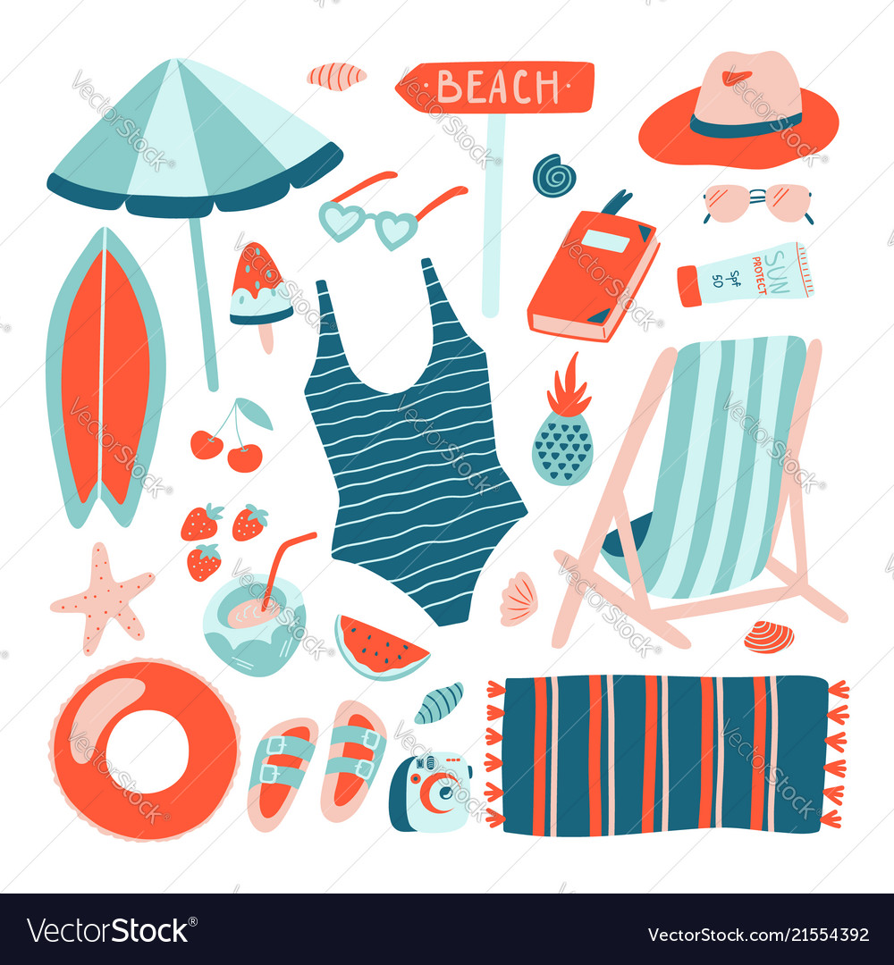 Hand drawn summer beach object collection doodle