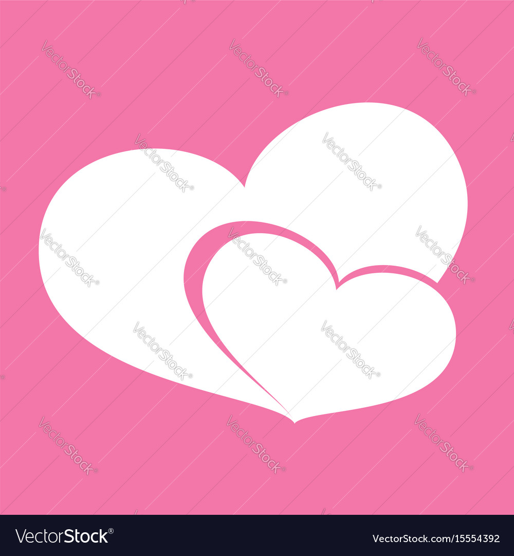 Icon hearts valentine day on pink background vector image