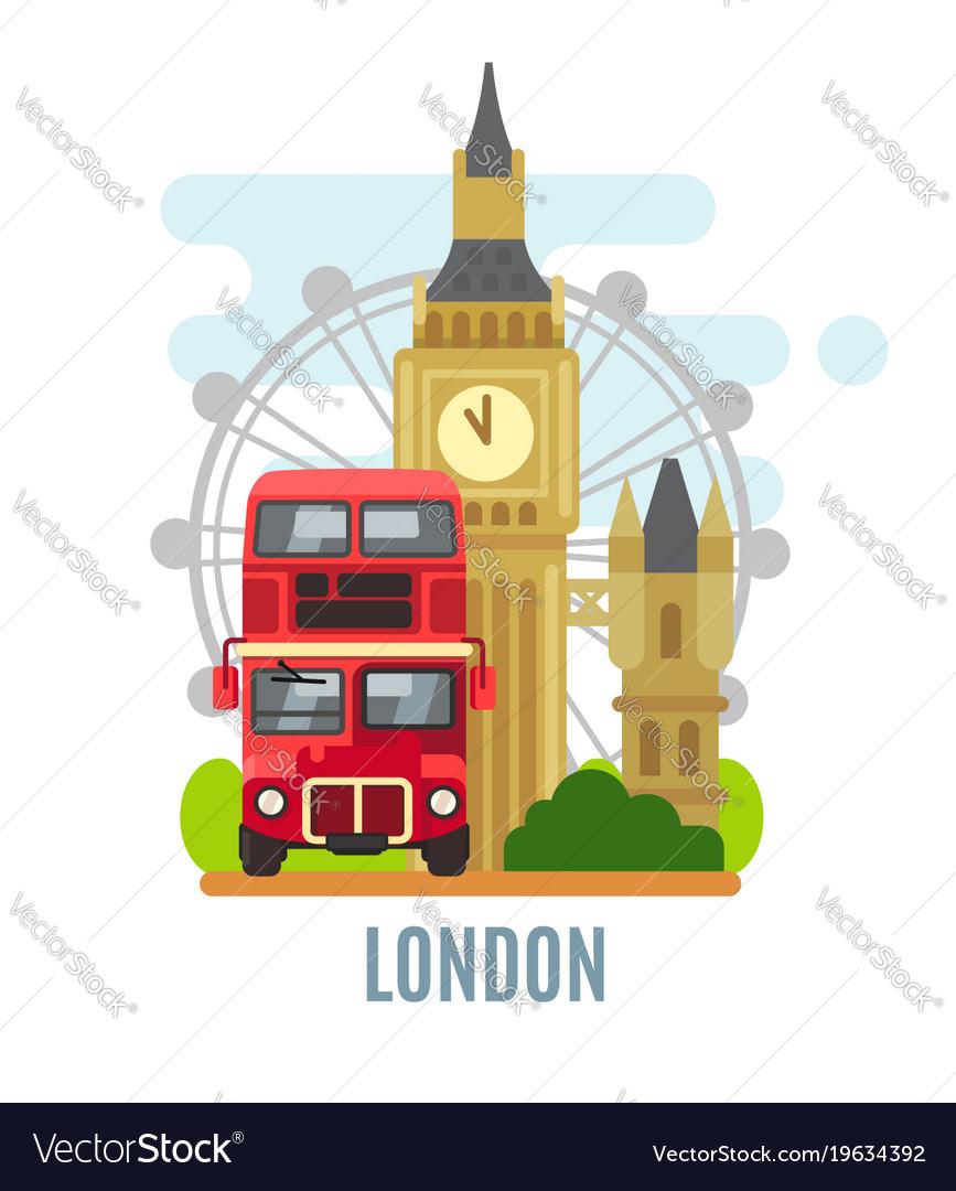 London concept with landmarks symbol