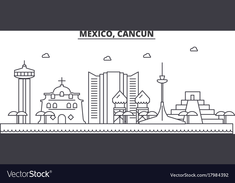 Mexico cancun architecture line skyline vector image