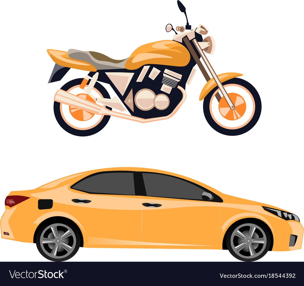 Motorcycle and car isolated