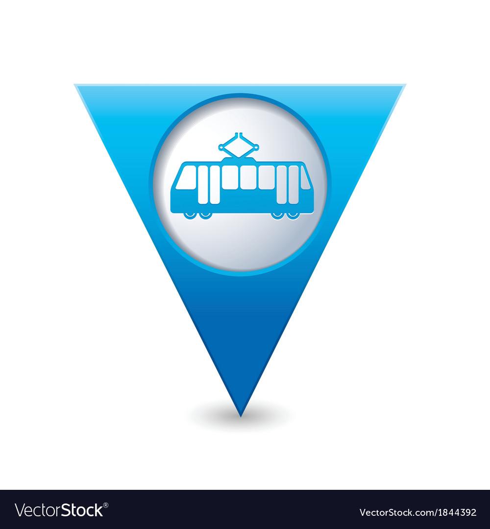 Tram icon map pointer blue