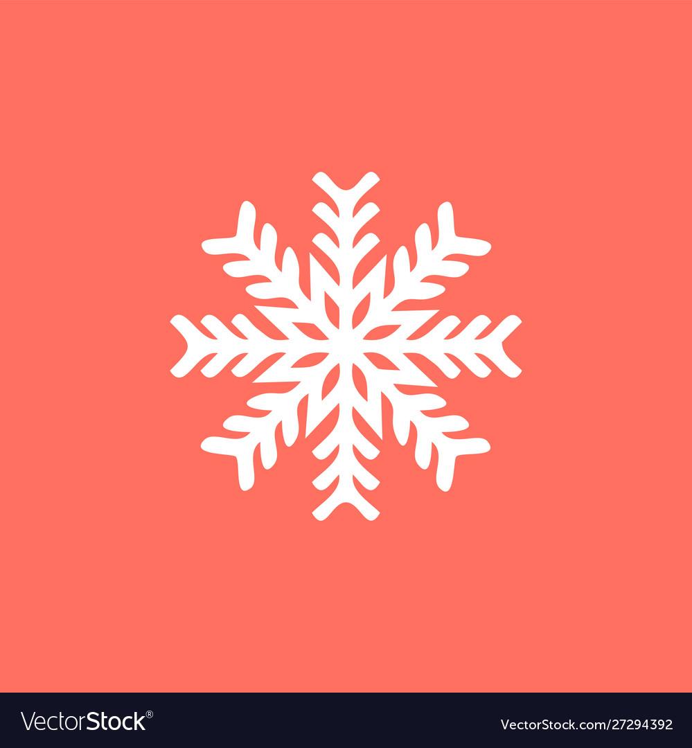 White snowflake on a red background snowflake
