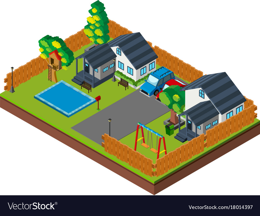 3d design for houses with pool and swings