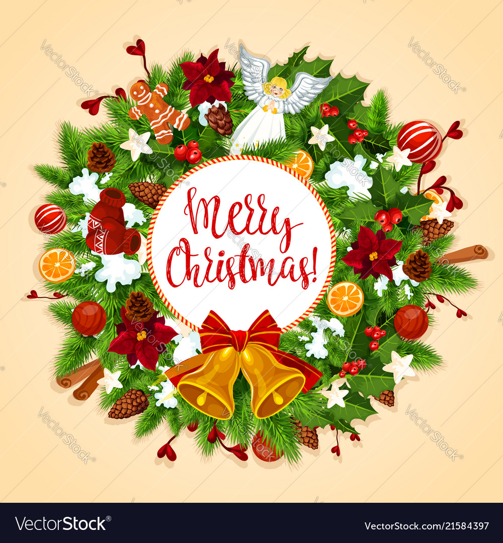 Christmas Wreath With Xmas Bell Bow Greeting Card Vector Image