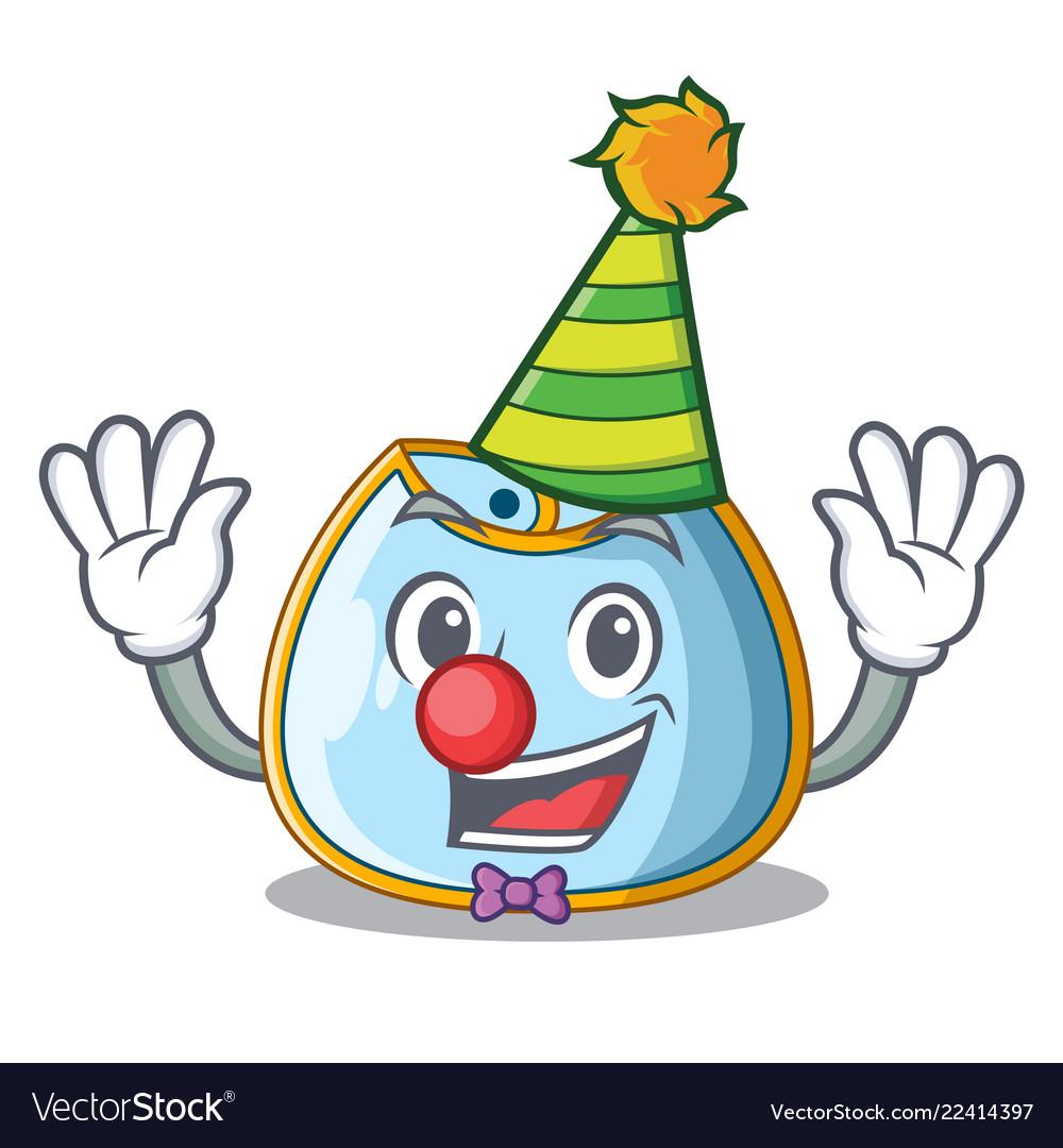 Clown baby bib isolated on the mascot