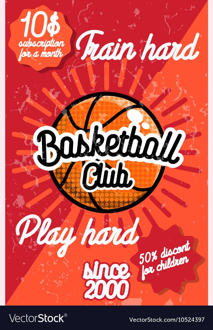 Color vintage basketball poster