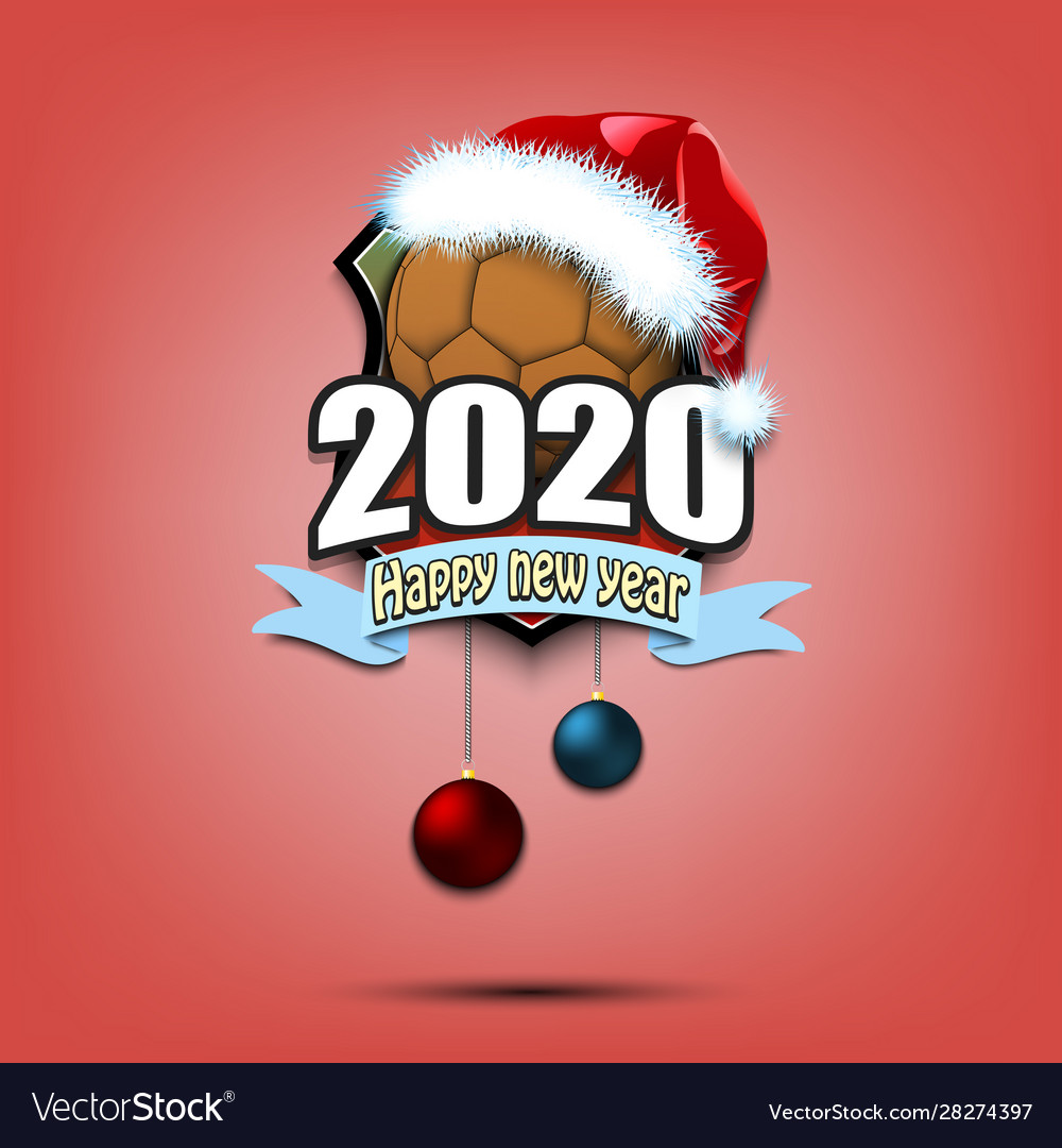 Happy New Year 2020 And Handball Ball In Santa Hat