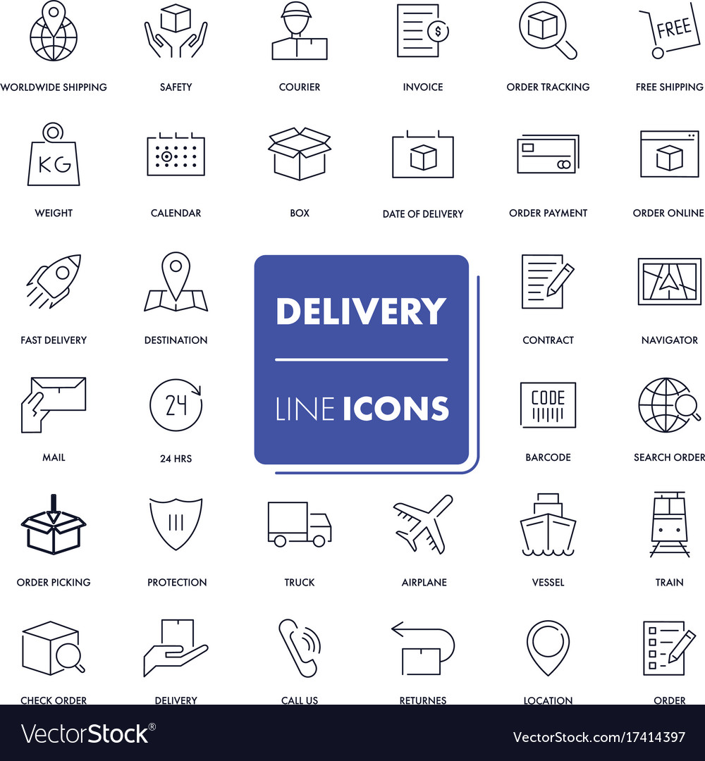 Line icons set logistics