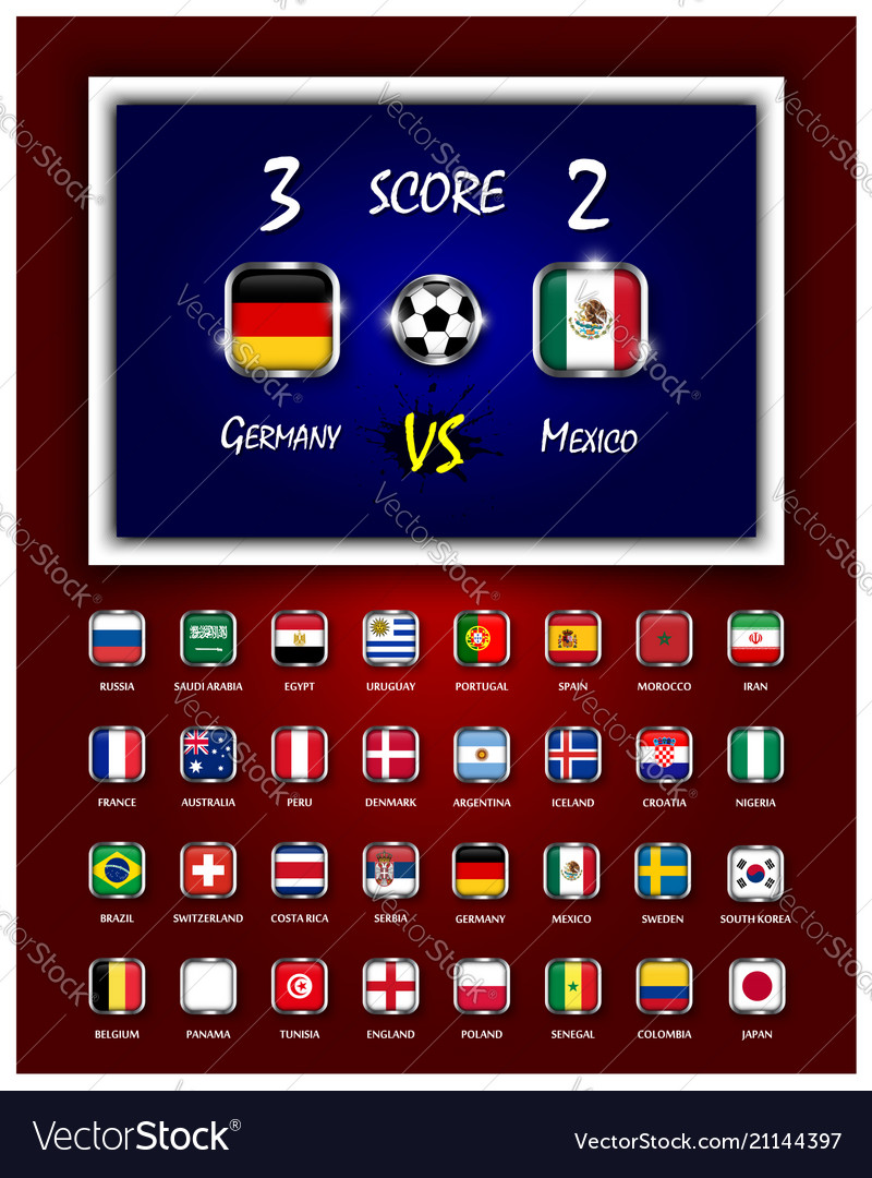 Scoreboard of football match and square design