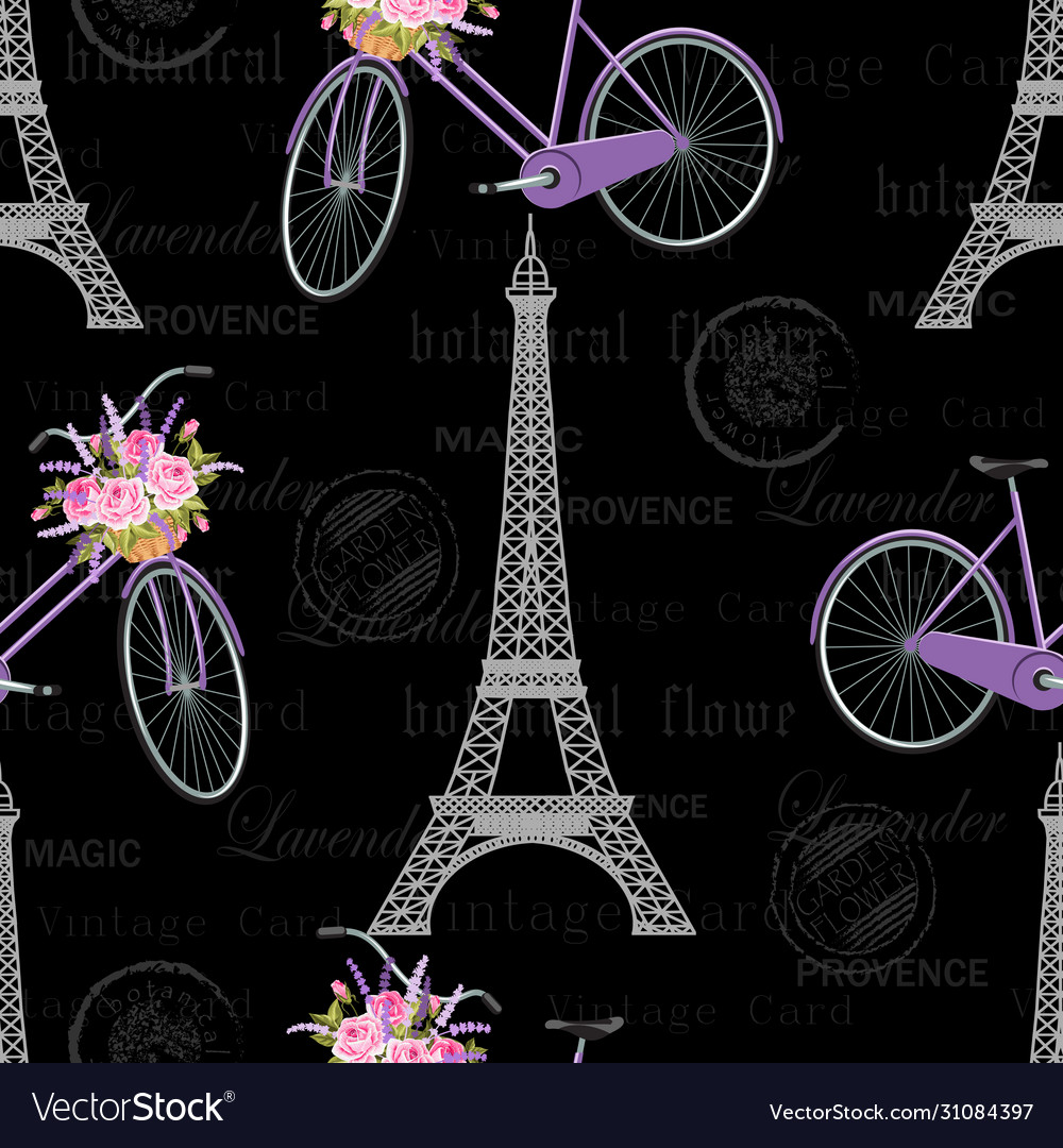 Seamless pattern with eiffel tower bicycle