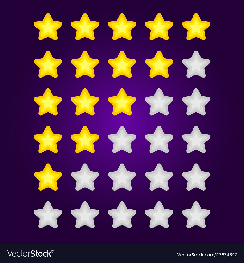 Set gray and yellow star rating mobile game
