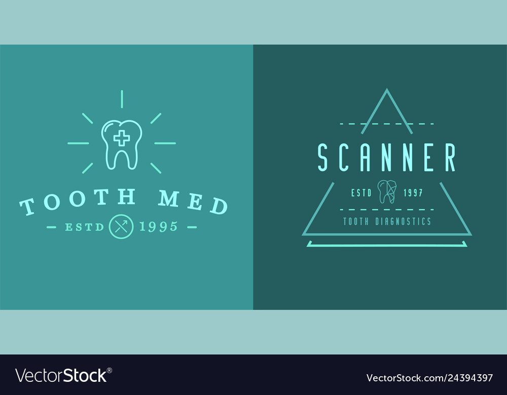 Set of dental signs template stomatology graphic