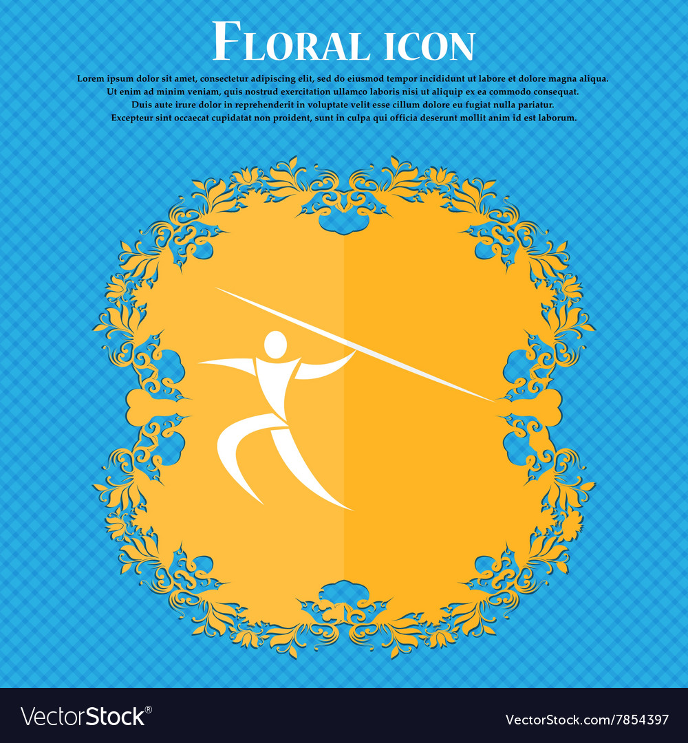 Summer sports Javelin throw icon Floral flat