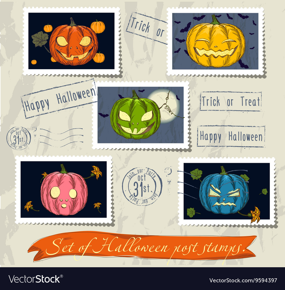 Vintage halloween post stamps set