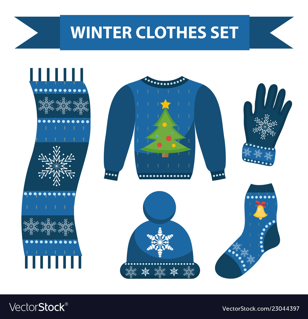 Winter warm clothes icon set flat style