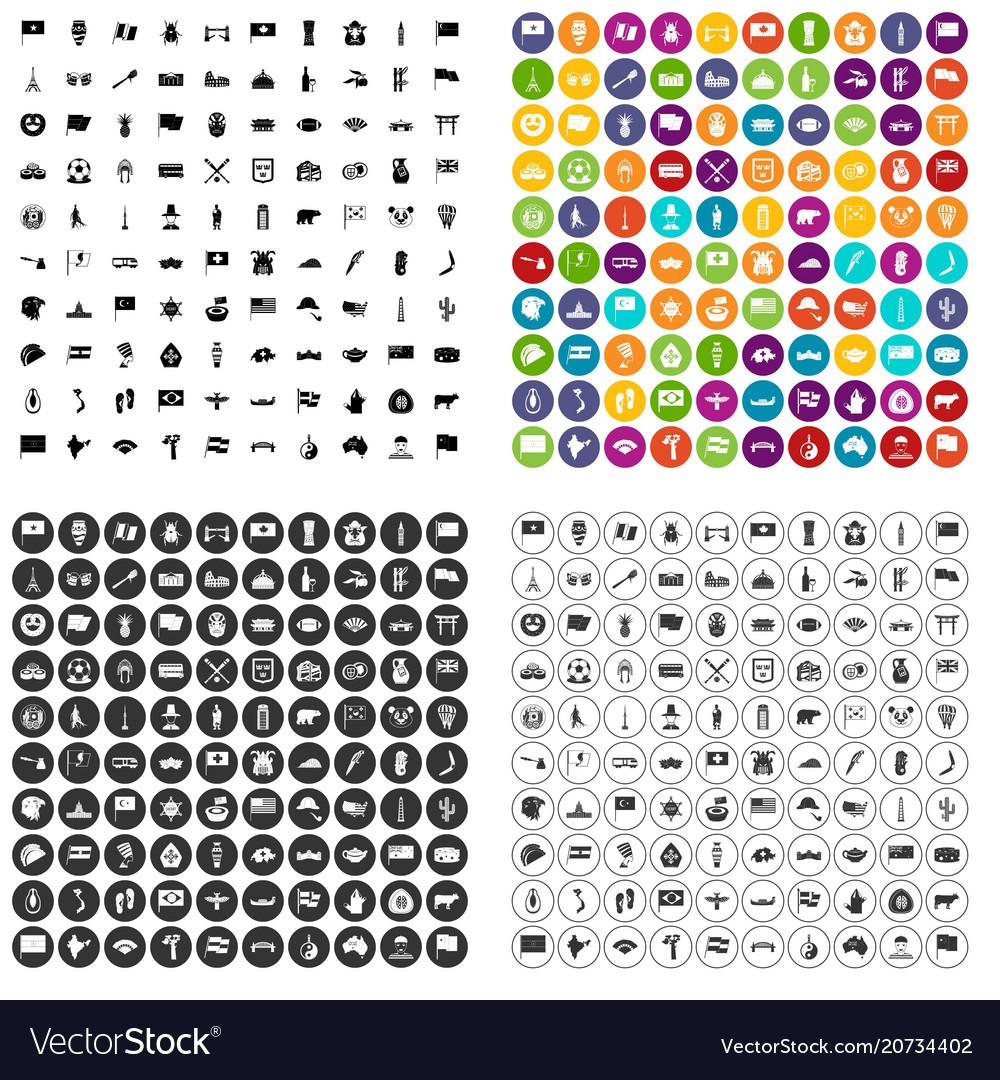 100 national flag icons set variant