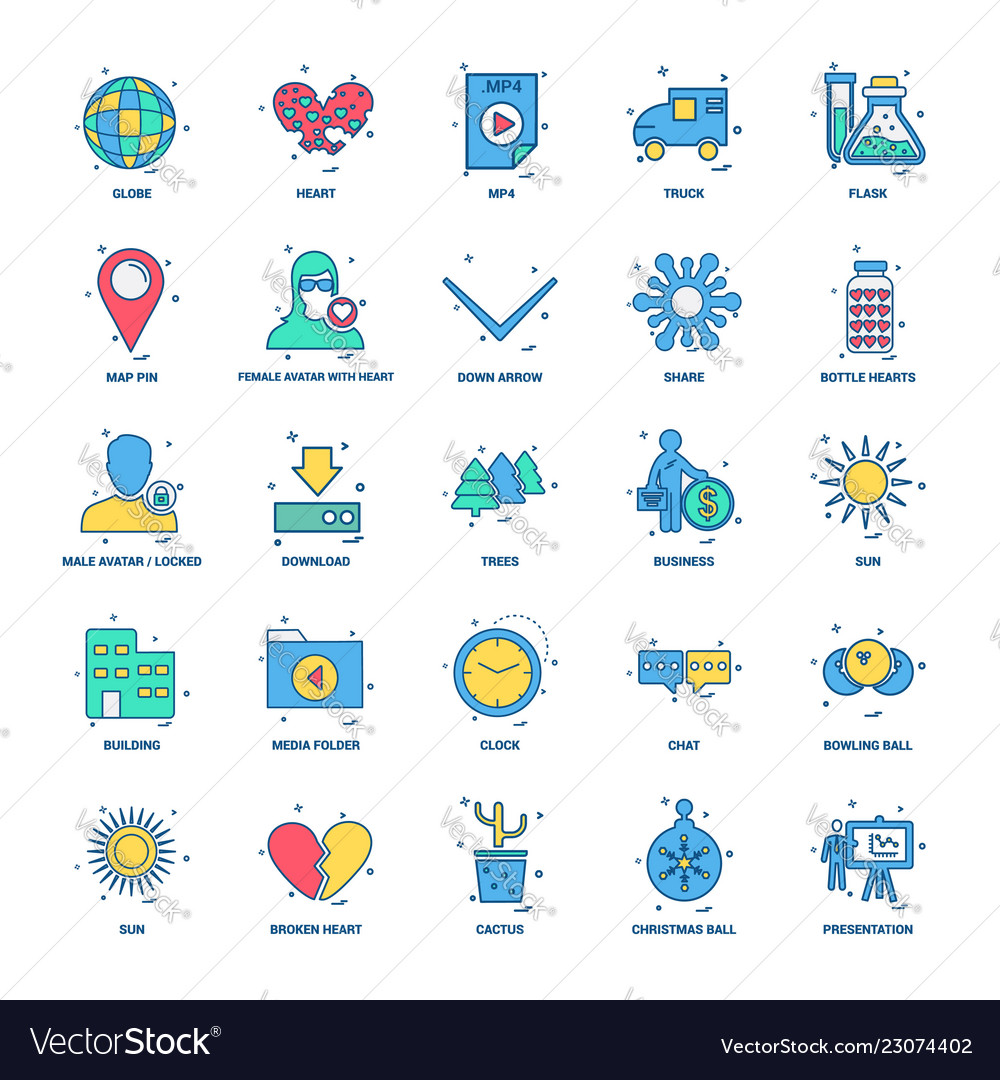 25 business concept mix flat color icon set