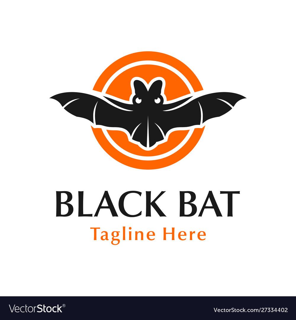 Black bat logo design with circle