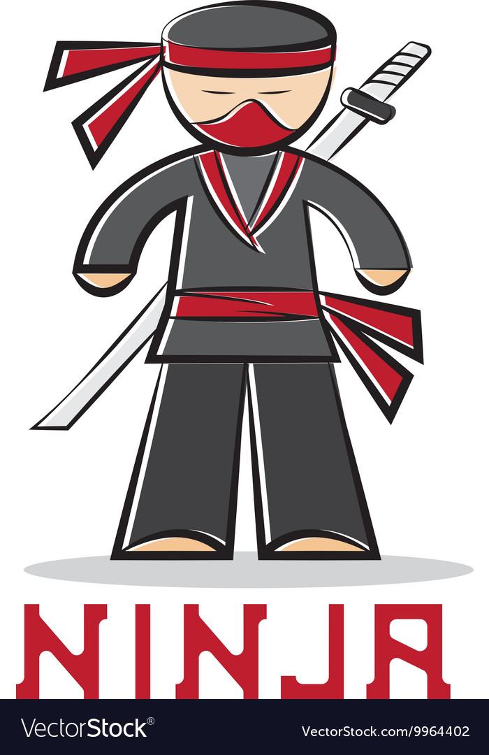 Cartoon ninja young man design vector image