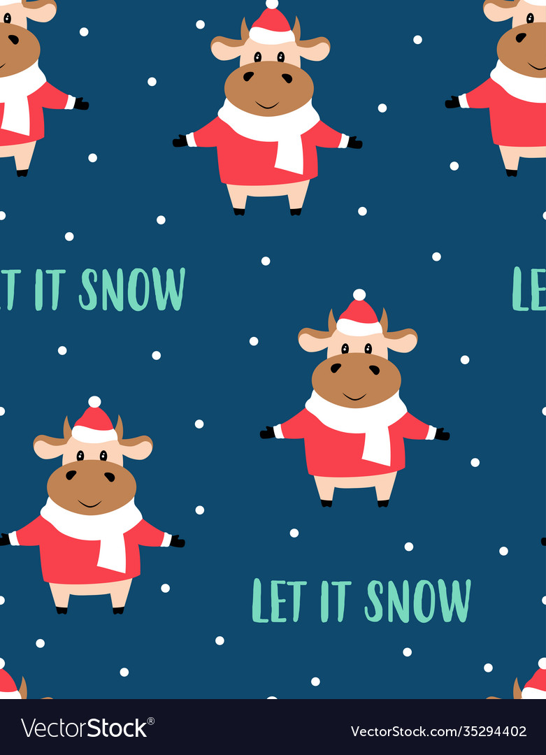 Christmas seamless pattern with cow