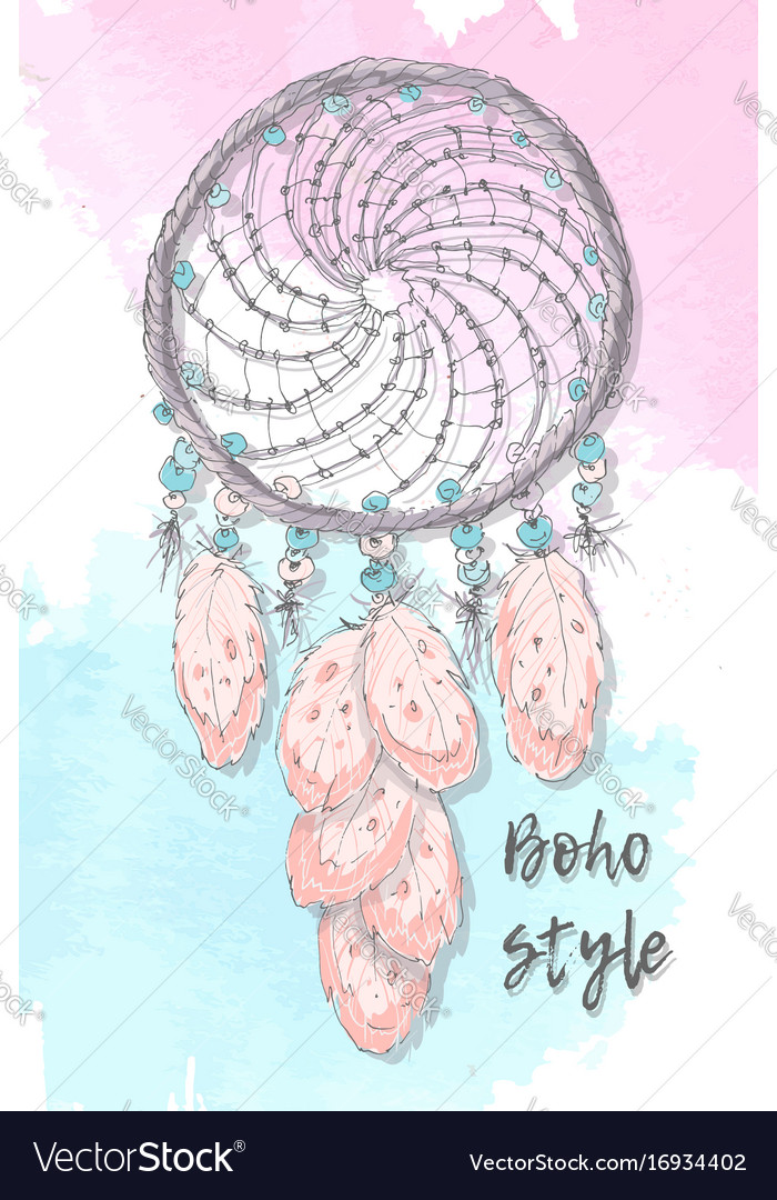 Dreamcatcher boho style hand drawing