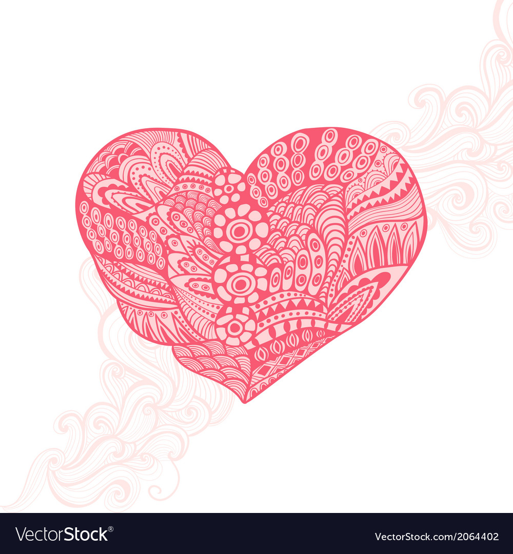 Floral heart Heart made of flowersDoodle Heart