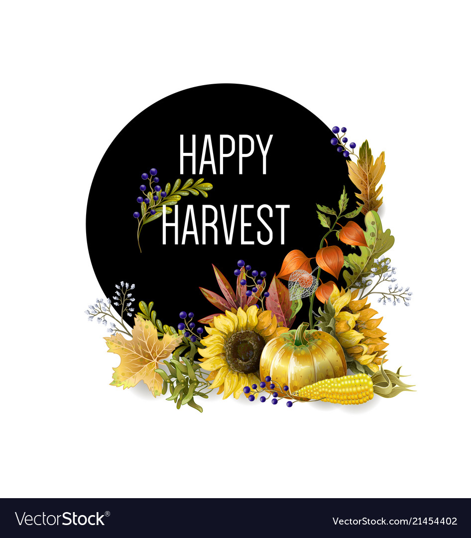 Greeting banner of harvest with autumn leaves