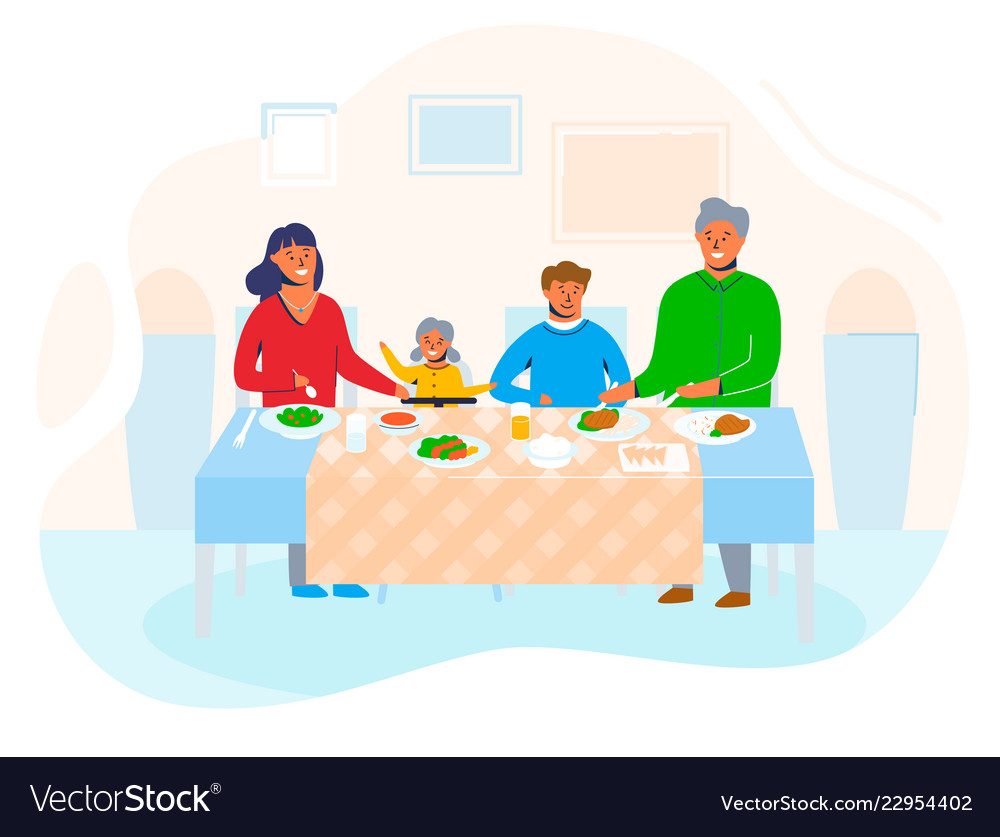 Happy family home with children sitting at table