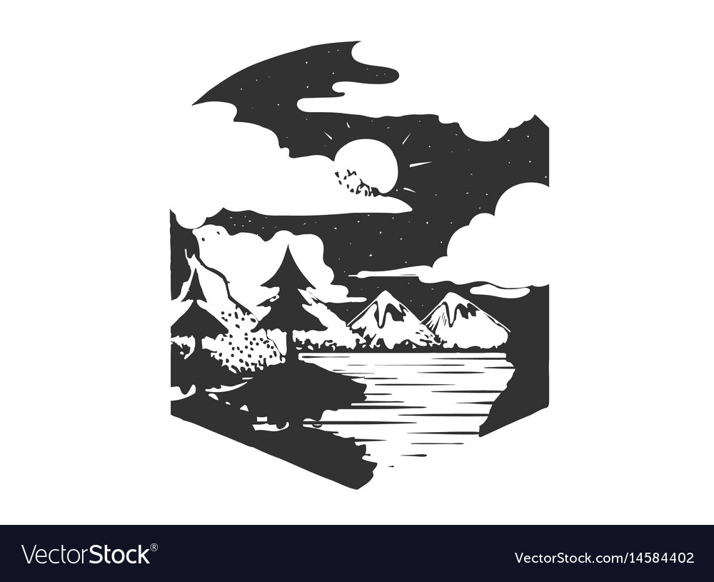 Mountains camping forest camp hand drawn t