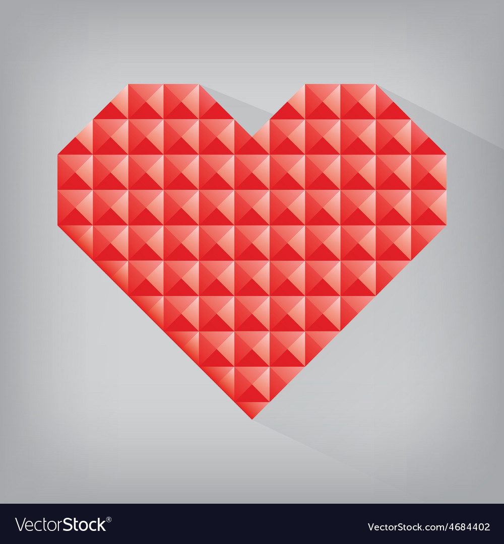 Red retro heart triangle abstract love valentine vector image