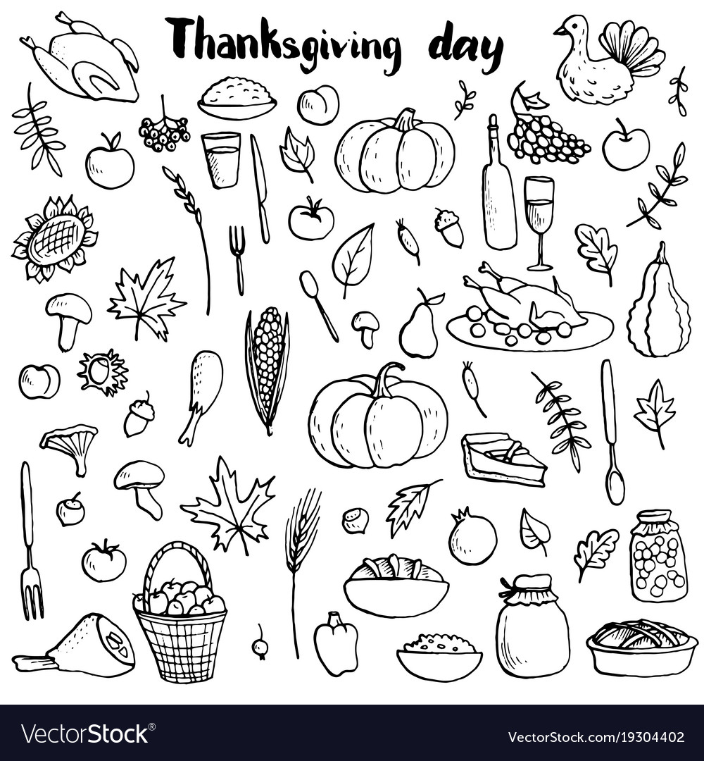 Thanksgiving day doodle set
