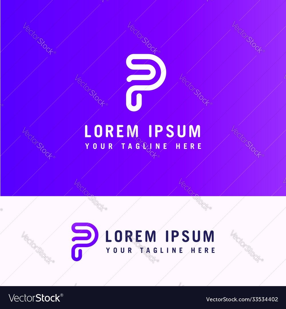 Trendy modern stylish attractive p initial based