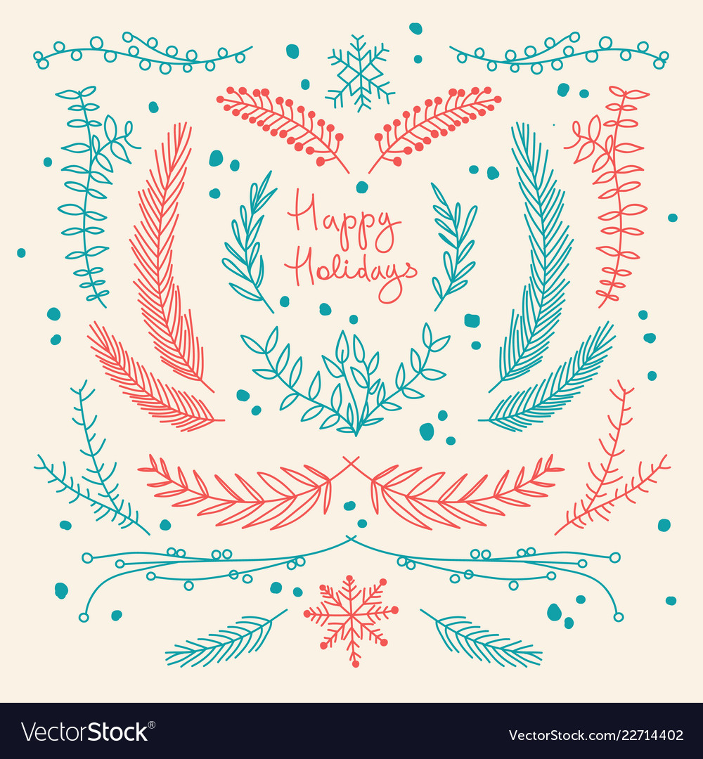 Winter holidays hand drawn floral template