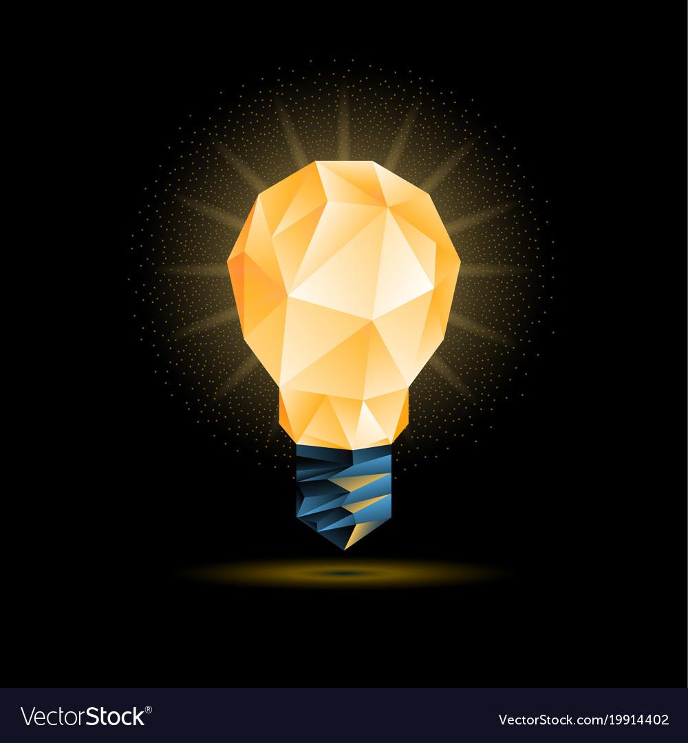Yellow 3d low poly light bulb model vector image & Yellow 3d low poly light bulb model Royalty Free Vector