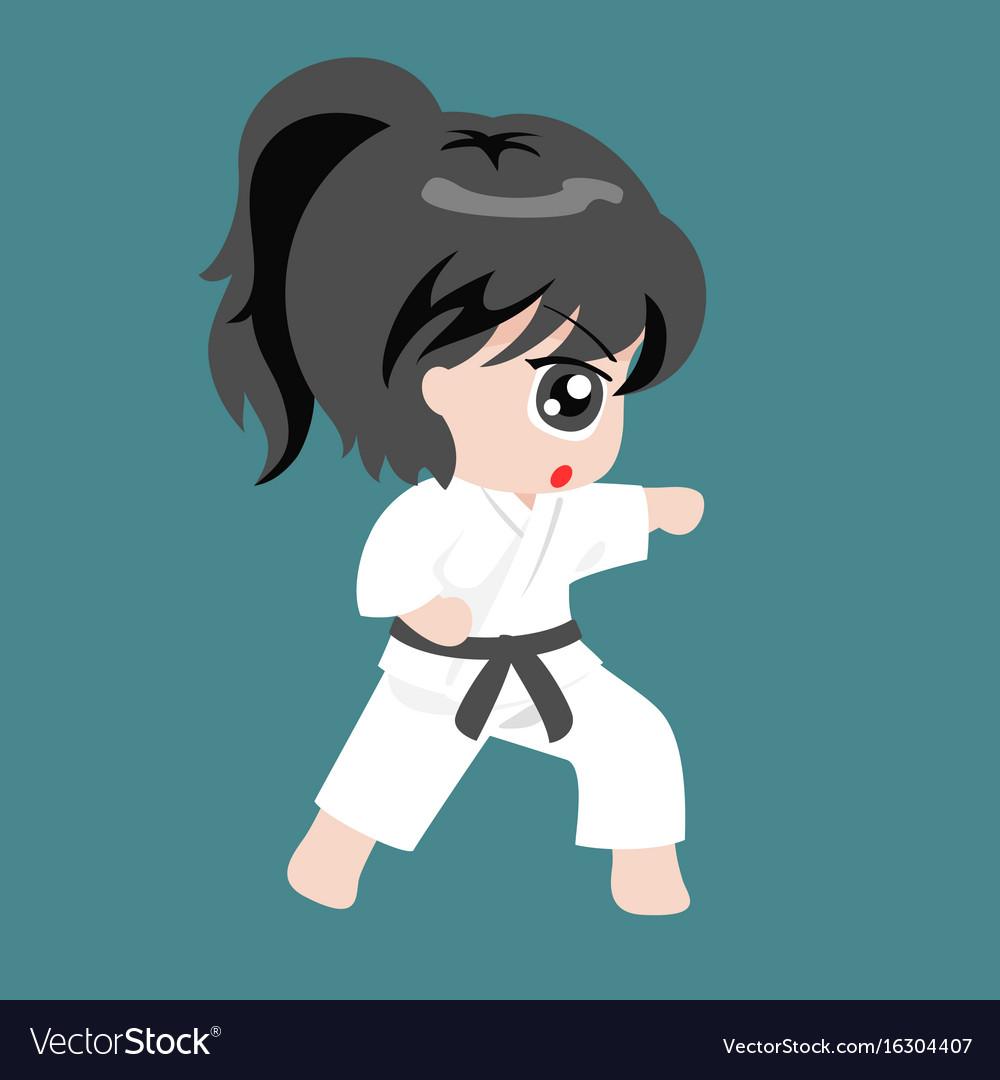 A girl play martial art karate