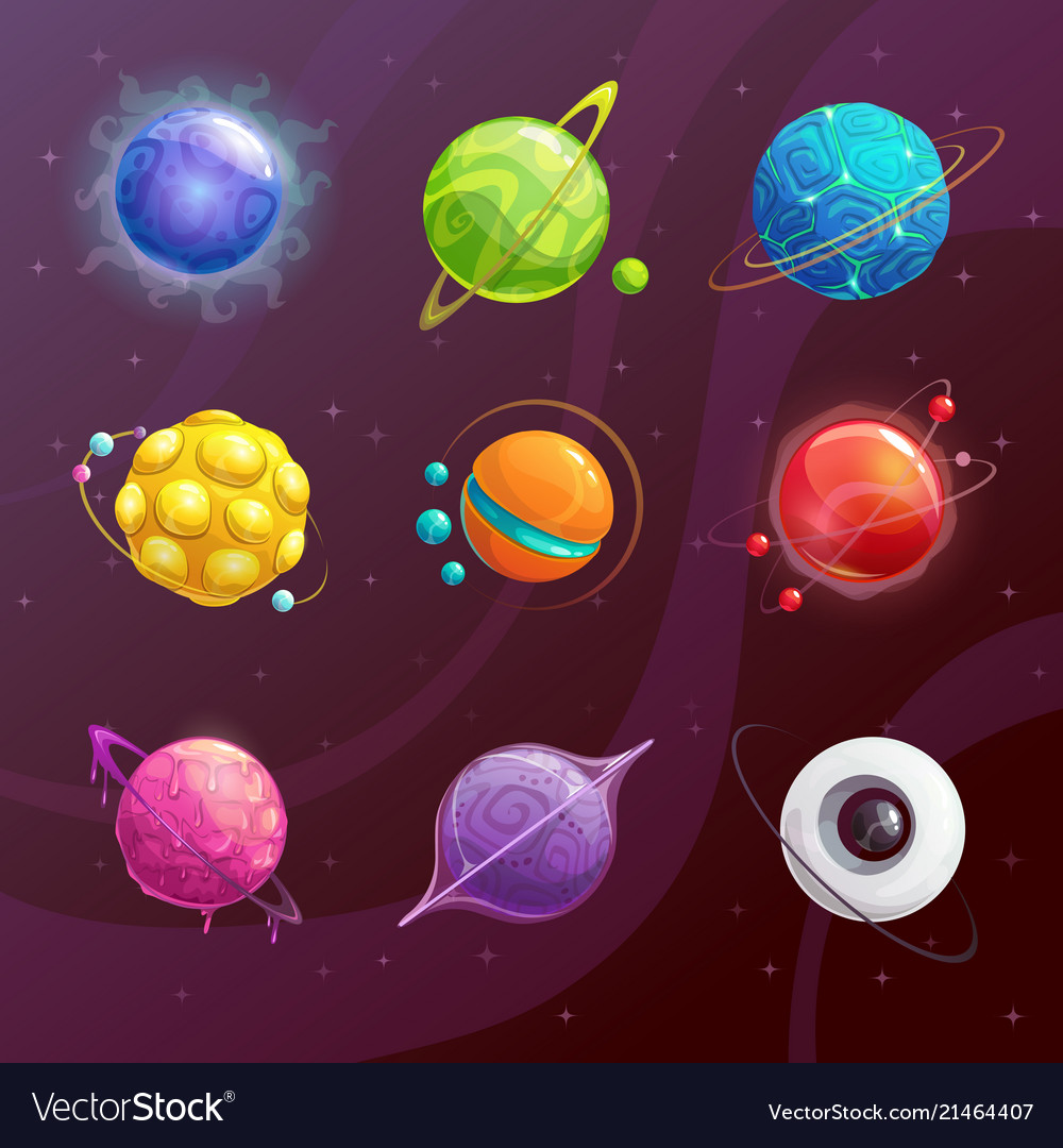 cartoon colorful fantasy planets set royalty free vector