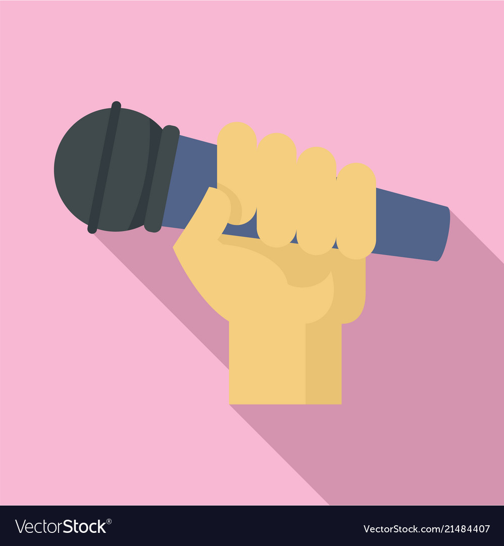 Microphone in hand icon flat style