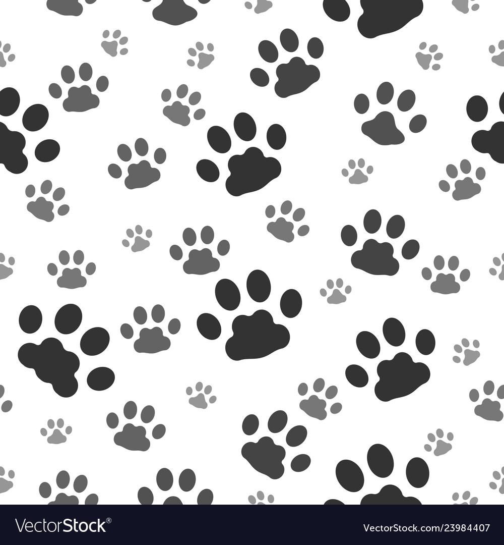 Paw prints seamless pattern