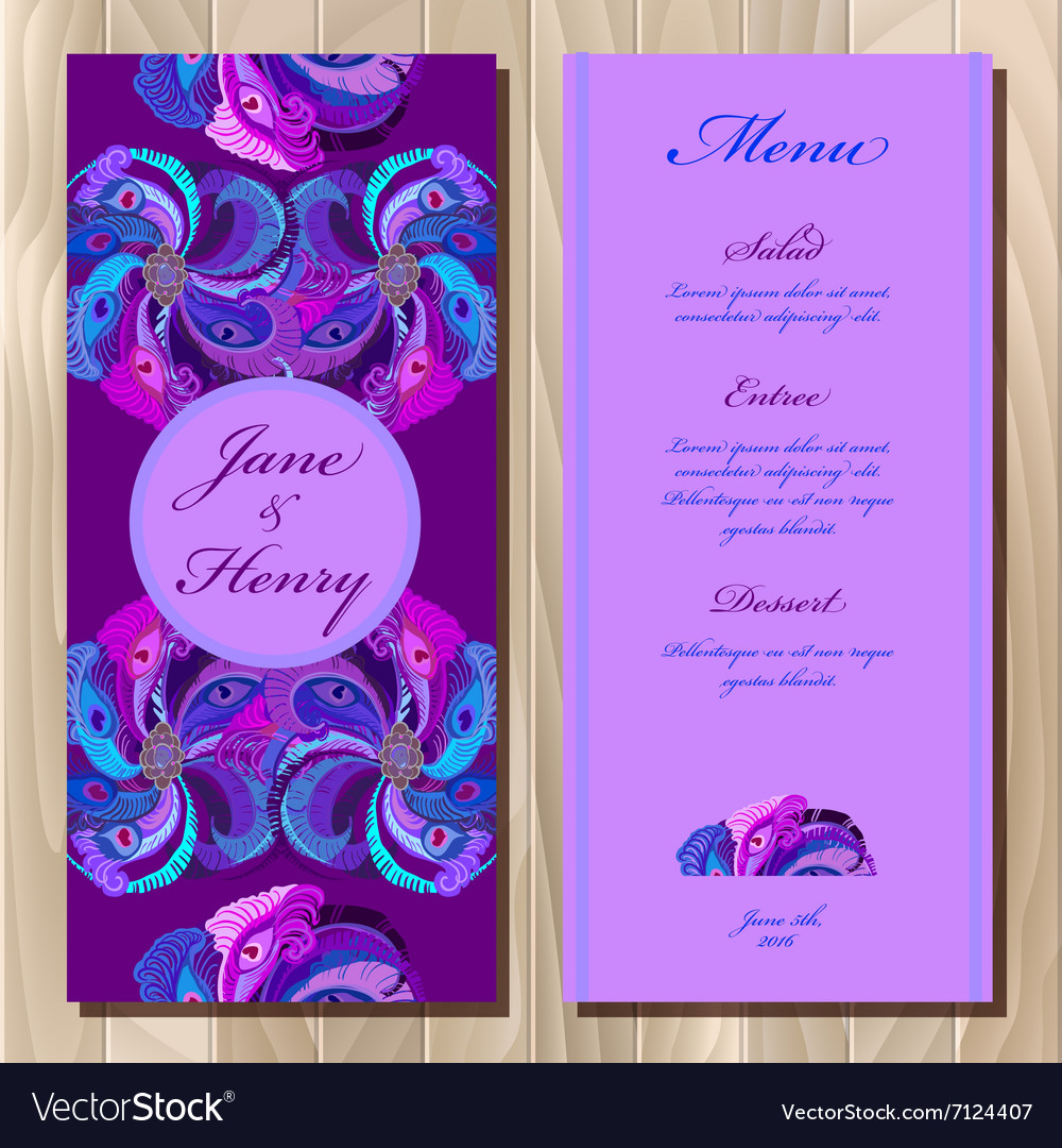Peacock feathers wedding menu card Printable