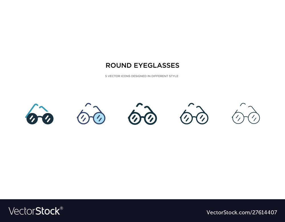Round eyeglasses icon in different style two