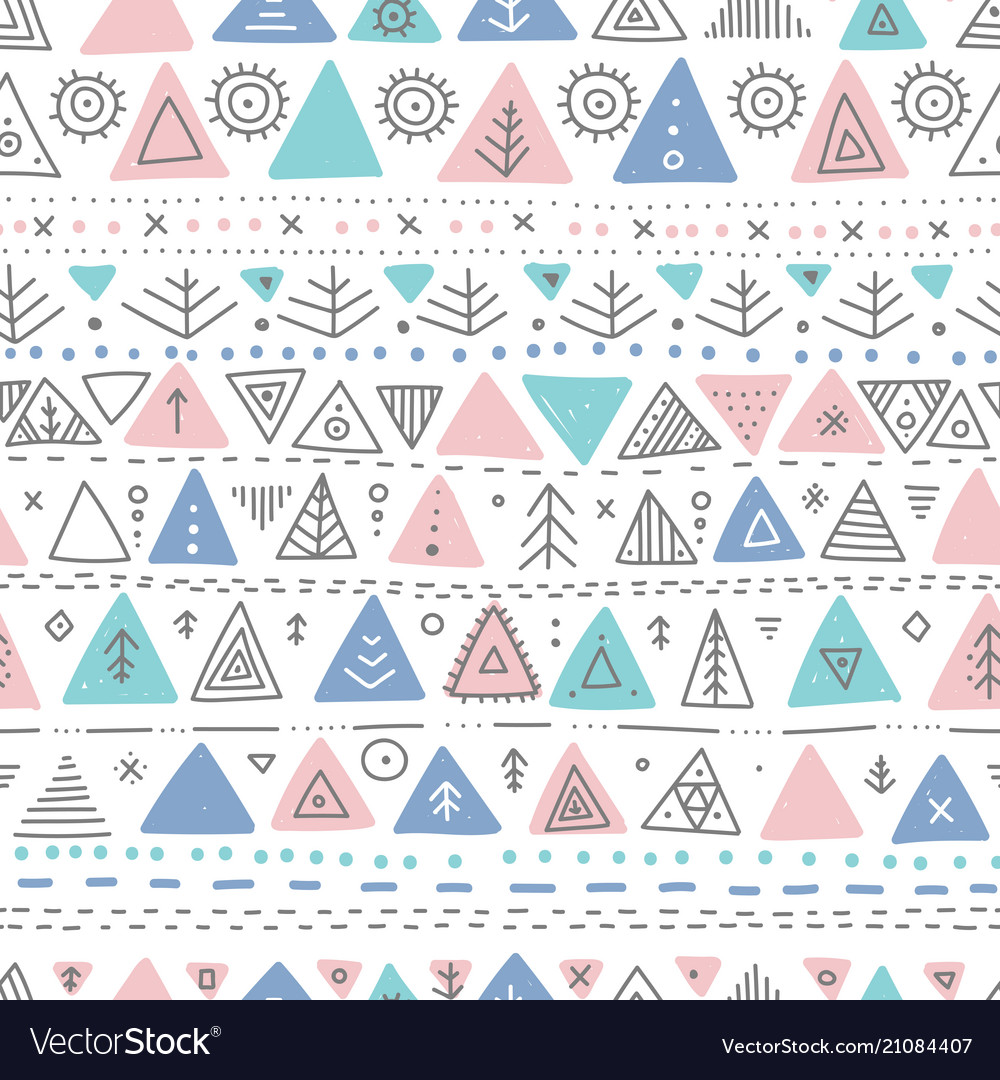 Seamless pattern with ethnic tribal boho triangle