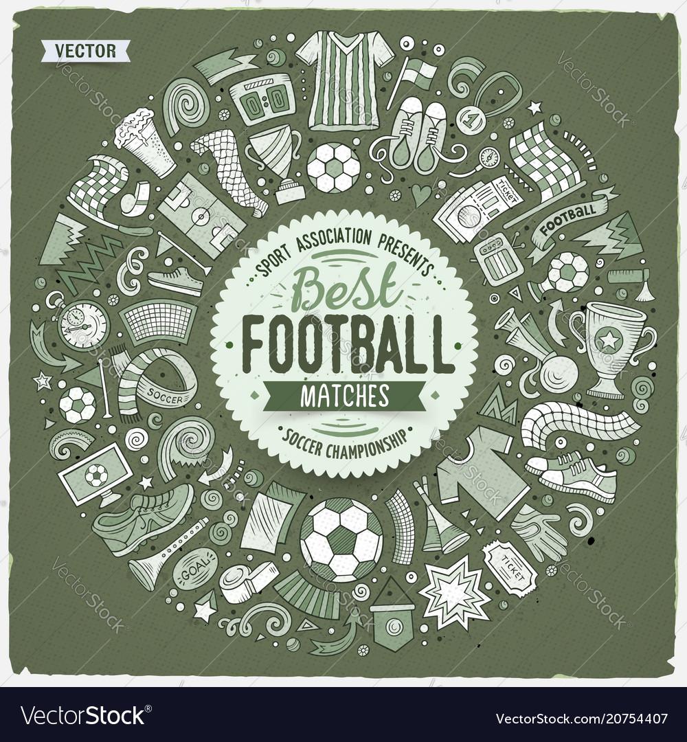 Set of cartoon doodle football objects