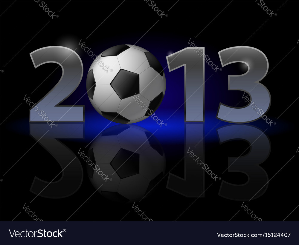 Twenty thirteen year football on black vector image
